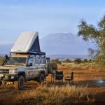 Bivouac, Kenya vue sue le Kilimenjaro. HZJ78 Toyota Photographie ©Patrick Galibert