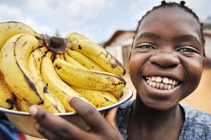 Portrait. Malawi. La vendeuse de bananes.