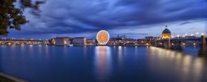 Vue de Toulouse, test nikon D810, longue exposition des quais de la Garonne.